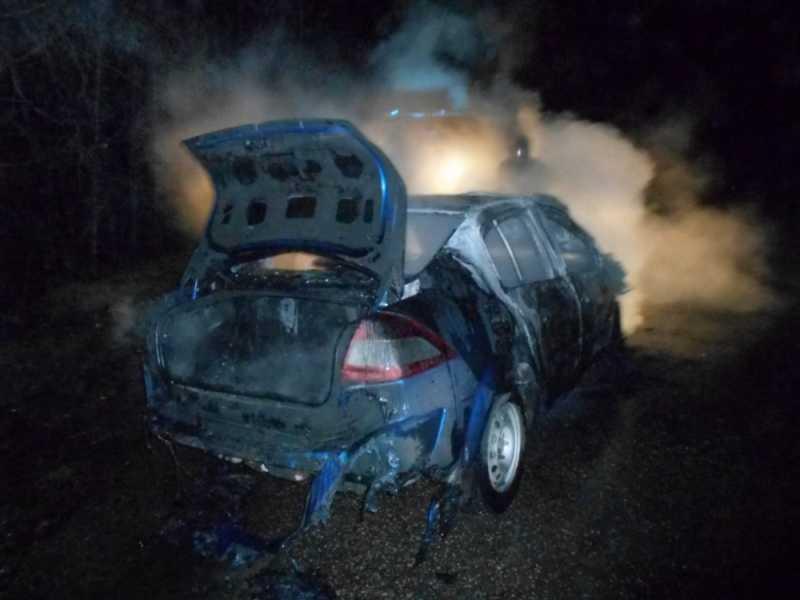 ВГусь-Хрустальном районе иностранная машина врезалась вдерево изагорелась