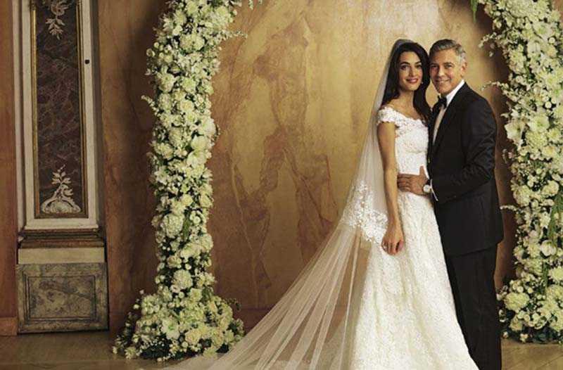 Спустя шесть месяцев после помолвки Амиль и Джордж поженились