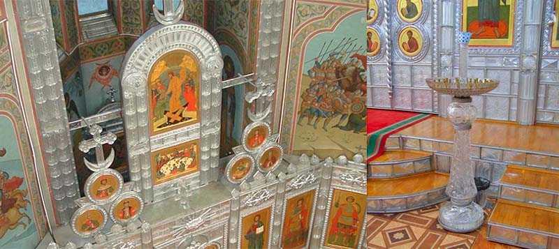 Уникальный иконостас  В 1989 году была возведена церковь Преображения