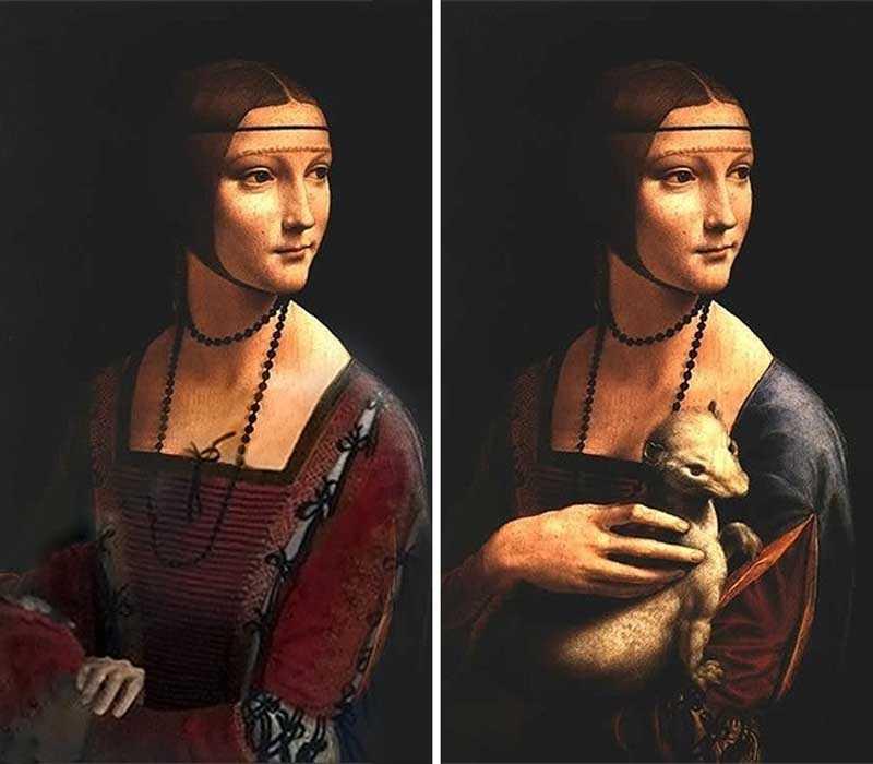 Трансформация полотна дама с горностаем