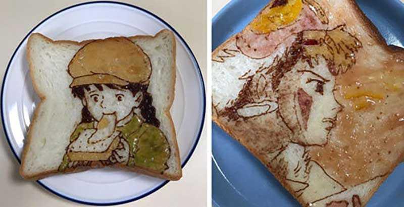 Бутерброды с героями аниме от японского художника
