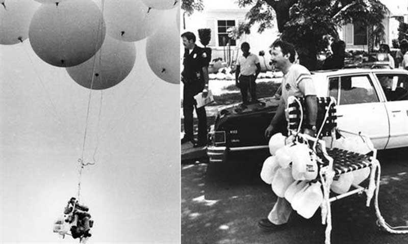 Полет американца на кресле с воздушными шарами, заслуживший премию Дарвина