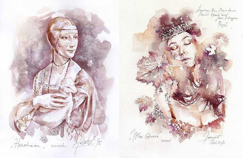 Саня Янкович (так зовут эту удивительную художницу) рисует красивые и оригинальные картины с помощью красного вина.